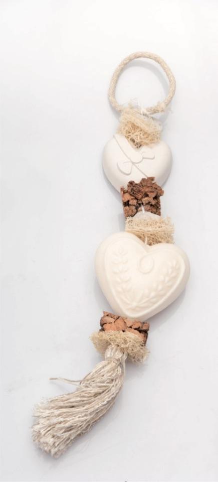 Seifen-Zopf Herz - Baumwollblüte