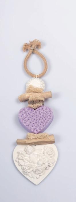 Seifen-Zopf Gipsherz - Lavendel
